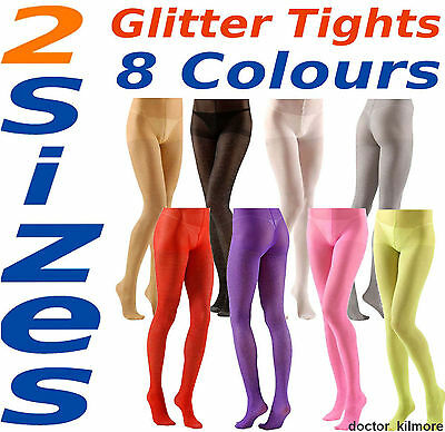 Glitter Sparkle Tights Pantyhose 40 Denier 8 Colours + 2 Sizes Normal & XL 18+