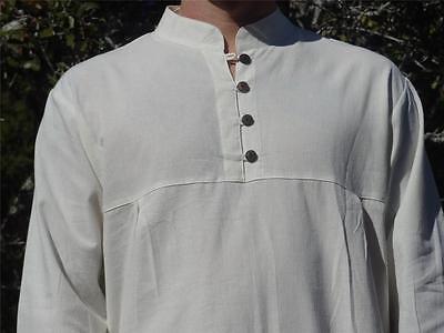 XL Zootzu Cotton Renaissance Faire Shirt Pirate Steam Punk Costume Buttons Cream