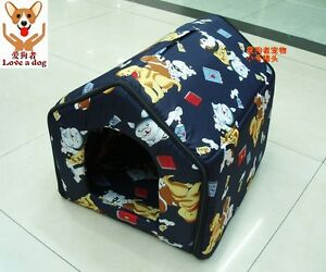 sNew-Indoor-Pet-Dog-Cat-House-Tent-Bed-Collapsible-RED-NAVY-size-MED-and-SM