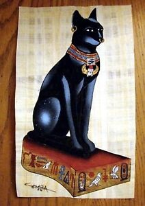 Egyptian-Hand-Painted-Papyrus-Artwork-Bastet-9-5-034-x-13-034-Imported-Signed