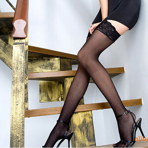 Lace-Flower-New-Lady-Sexy-Black-White-Silk-Sheer-Stockings-High-Tights-Stretchy