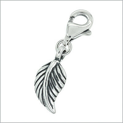 Antique Sterling Silver Feather Clip On Charm #94174