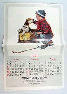 Vintage-1991-2019-Norman-Rockwell-A-Boy-and-His-Dog-Calendar-MATCHES-2019