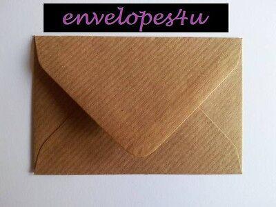 Brown Ribbed Kraft Envelopes for Greeting Cards - FREE P&P UK- Premium 100gsm