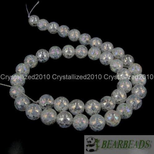 "Aurora Boreal Cristal Cuarzo Transparente Natural Gemstone redonda suelta granos 8 mm 10 mm 12 mm 15.5/"""
