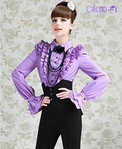 Brand-Blouse-Noble-Luxury-Victorian-Purple-Ruffles-Women-Shirt-SH31-Black-Bow