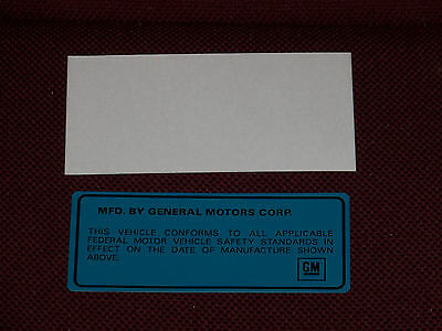 69 70 71 72 73 74 BUICK VEHICLE CERTIFICATION DECAL KIT 1969 1970 1971 1972 1973