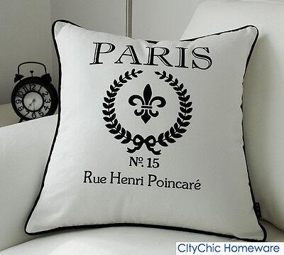 45cm x 45cm TBBS16 Black & White Paris Cushion Cover-White