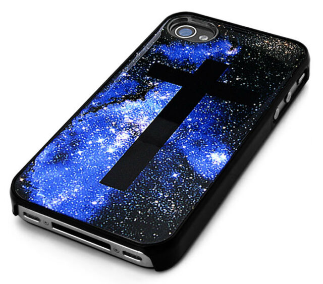Blue GALAXY with Black Cross Design Snap-On Case Skin Cover  for iPhone 4/4s