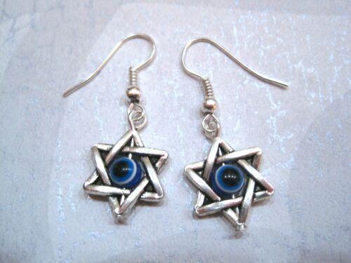 GOOD LUCK EVIL EYE STAR of David Protection SP Drop Earrings Kabbalah Wicca Blue