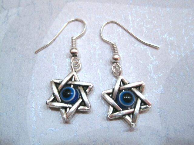 GOOD LUCK EVIL EYE STAR of David Protection SP Drop Earrings Kabbalah Wicca Blue
