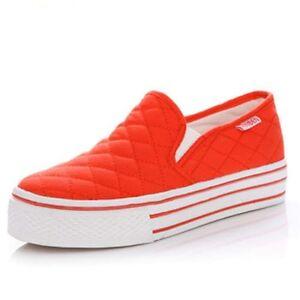 SINYO Women's Fashion School Canvas Shoes High Platform Slip ...