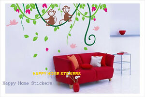 Cheeky-Monkey-Childrens-Room-Home-Wall-Sticker-Adhesive-Reusable-Art-Decal