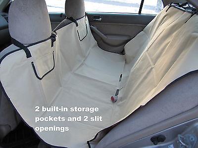 Heavy Duty Dog/Cat Travel Hammock,Waterproof Car Seat Cover&Storage,Khaki/Beige