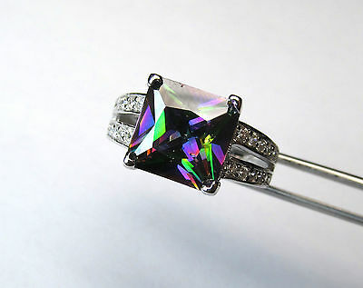 Elegant Rainbow CZ Accented Square in Sterling Silver Ring