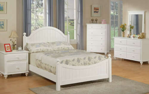 lovely white panel headboard young girls 4 pc wooden youth twin full bedroom set - Jessica Mcclintock Furniture