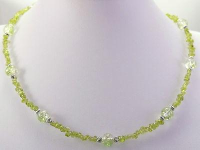 Collier*Halskette*Olivin (= Peridot) Splitter +Crackleglasperlen*Grün*Kette*C172
