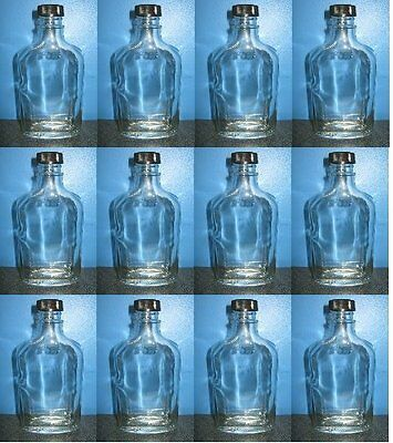 TINY WHISKEY FLASKS BY THE CASE 12 BRAND NEW CLEAR GLASS 100ml BOTTLES w/CAPS