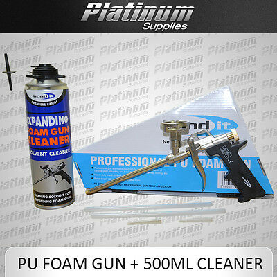 PROFESSIONAL PU EXPANDING FOAM GUN APPLICATOR CHROME + 500ML GUN CLEANER