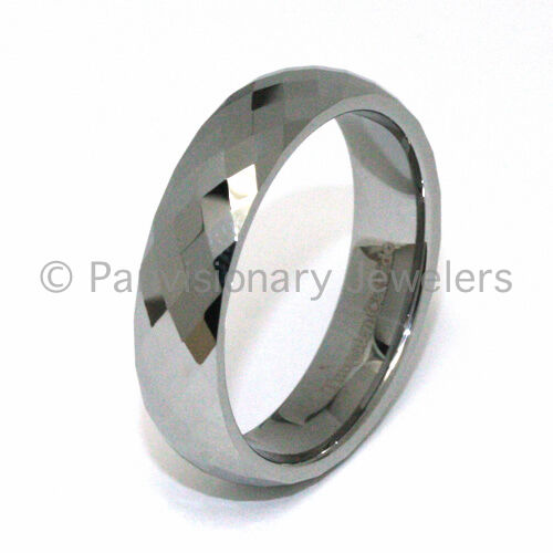 6mm Tungsten Carbide Ring Natural Faceted Silver-Tone Wedding Band Thumb Pinky