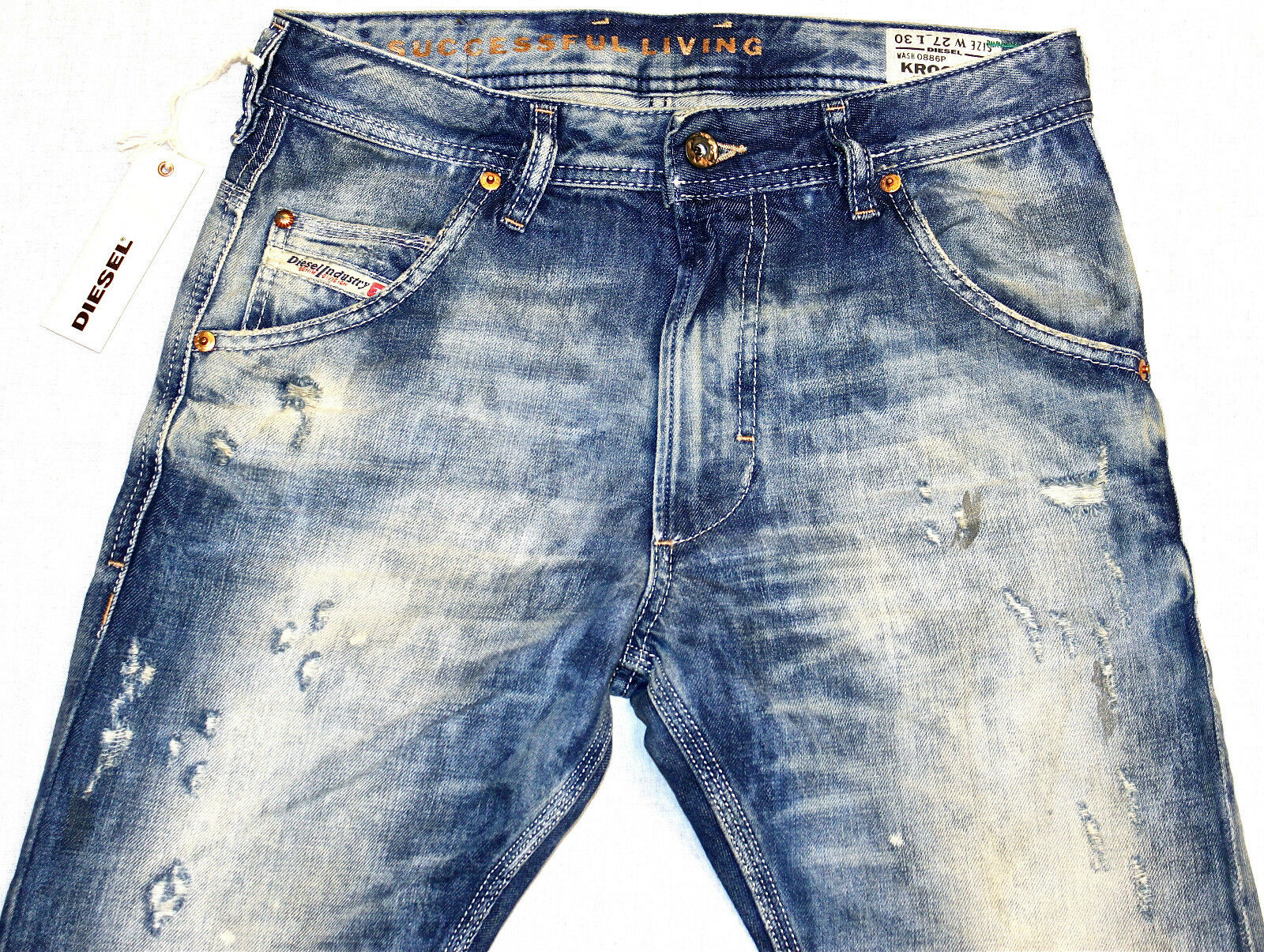 BRAND NEW DIESEL KROOLEY 886P JEANS 27X30 CARROT FIT TAPErot LEG 0886P