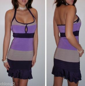 Sexy-BEBE-Cleavage-Keyhole-Colorblock-Contrast-Bandage-Ombre-Mini-Dress-M-L