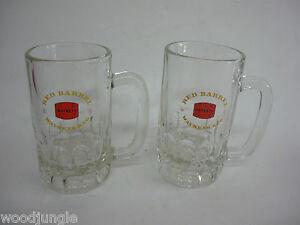 2-Vintage-WATNEYS-RED-BARREL-GLASS-BEER-MUGS-KEG-HALF-PINT-ENGLAND-NICE-steins