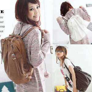 New-Korean-Style-Colorful-Girls-039-PU-Leather-Backpack-Handbag-Shoulders-Bag-ZW014