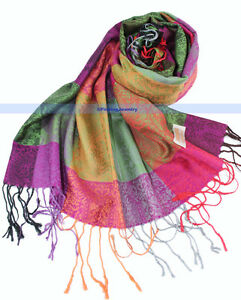 New-Soft-Pashmina-Cashmere-Silk-Shawl-Scarf-Multi-Color-FJUS
