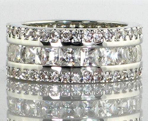Antique Imperial ETERNITY BAND 4.2 Ct CZ Engagement Bridal Wedding Ring- SIZE 10