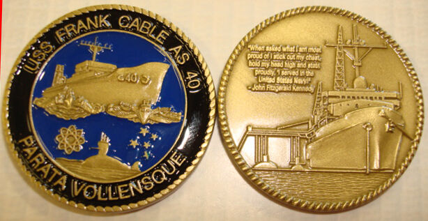 NAVY SUBMARINE TENDER  USS FRANK CABLE AS-40 MILITARY  CHALLENGE COIN
