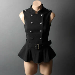Military-40s-Steampunk-Captain-Nautical-Belt-Ruffle-Peplum-Vest-Top-Shirt-sz-SML