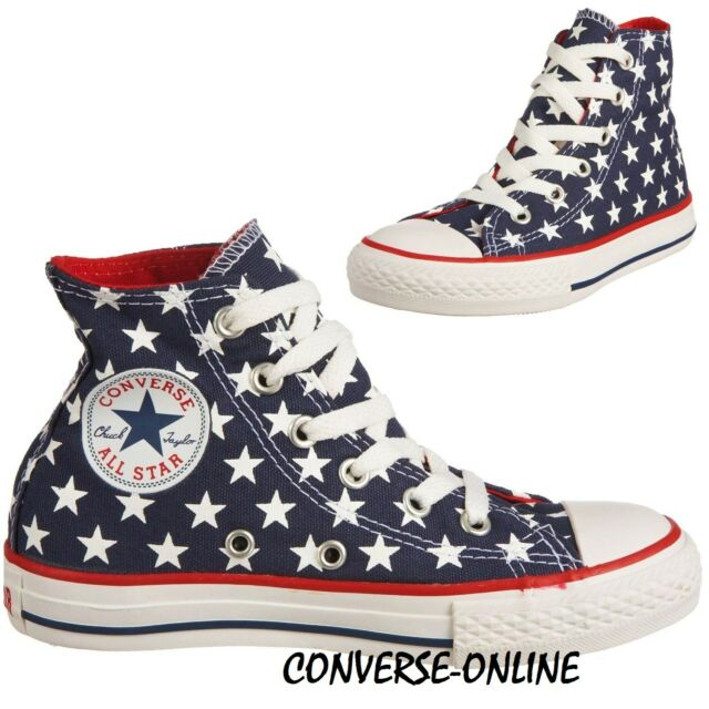 50b2297733c0 Kids Girls Boy s CONVERSE All Star STARS HIGH TOP Blue Trainers Boots SIZE  UK 11