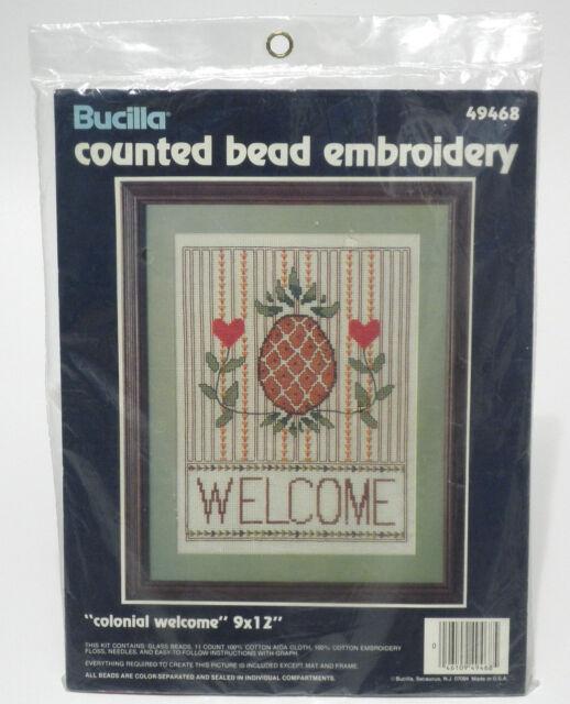 Bucilla Colonial Pineapple Heart Hospitality Welcome Cross Stitch Bead Kit NIP