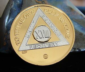 Gold Silver Bi Plated Alcoholics Anonymous AA 18 Year Medallion Coin Chip Token