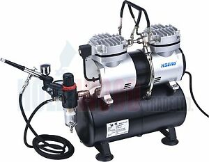 Mini-Twin-Airbrush-Compressor-With-Tank-AS196-Kit