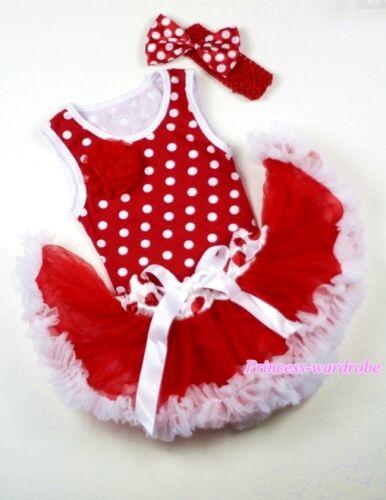 Xmas Minnie Dots Top Red White Polka Dot Waist Pettiskirt Dress Tutu SET 3-12M