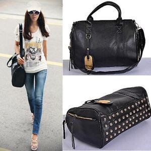 Studded-Bottom-Duffel-Tote-Shoulder-Handbag-with-Shoulder-Strap-BG-0054