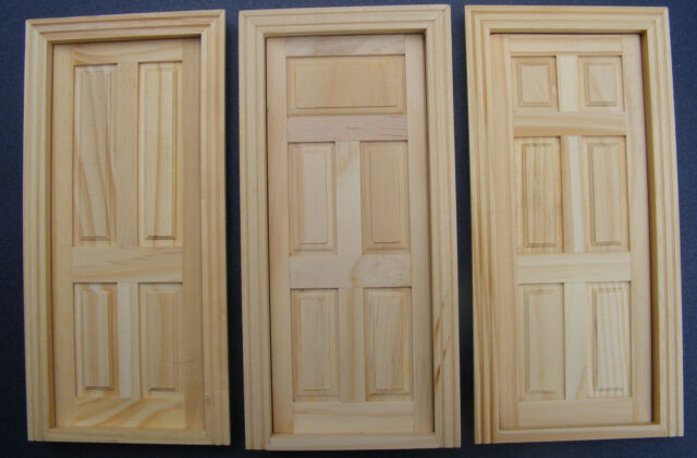 1:12 Scale Natural Finish Dolls House Miniature Accessory Internal Wooden Door
