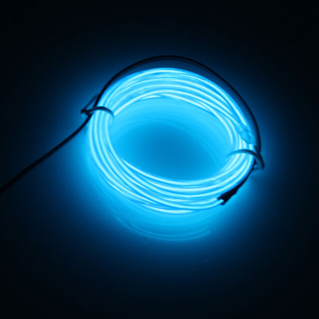 10ft Flexible Neon Light Glow EL Wire Rope Tube Car Dance Party+Controller Blue