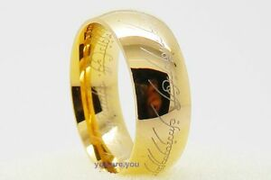 Lord-of-the-Ring-Gold-Stainless-Steel-Men-039-s-Band-Ring-US-Size-7-8-9-10-11-12