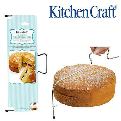 Kitchen Craft Cake Slicer, Cutting & Levelling Serrated Edge Adjustable Wire Saw