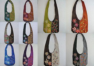 Tasche Umhängetasche Beutel Hippie Bollywood Goa Flower Power Blumen Stickerei