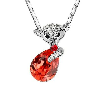 18K White Gold Plated Made With Swarovski Crystal Cute Fox Orange Red Necklace