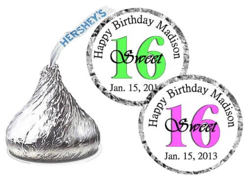 108 SWEET 16 BIRTHDAY PARTY FAVORS HERSHEY KISS KISSES LABELS