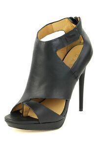 L-A-M-B-285-Amanda-Black-Sandal-Zip-Heel-LAMB-Pump-Platform-Leather-NEW-Vamp