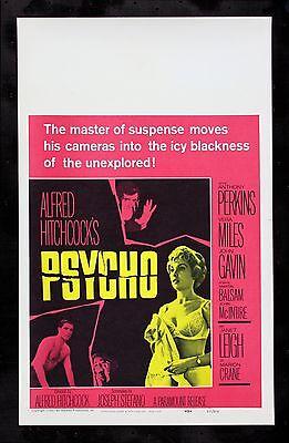 PSYCHO * CineMasterpieces WINDOW CARD ORIGINAL MOVIE POSTER HITCHCOCK NM-M 1960