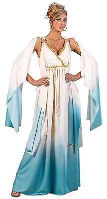 Womens Greek Goddess Costume Grecian Blue Fancy Dress Gold Leaf Robe Sexy Adult