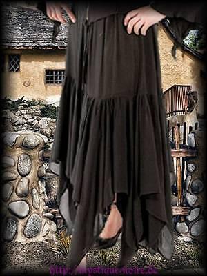 Gothic Wicca Hexen Zipfelrock schwarz Elfe Mittelalter Larp Neu