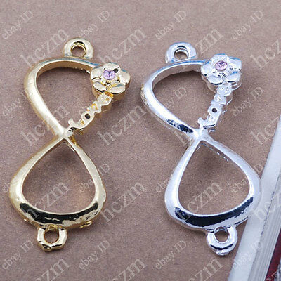3x love on infinity infinite  bracelet connector charm karma sideways ribbon